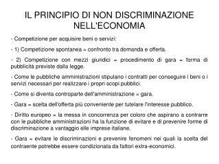 IL PRINCIPIO DI NON DISCRIMINAZIONE NELL'ECONOMIA