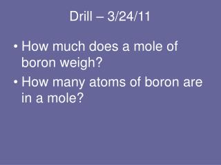 Drill – 3/24/11