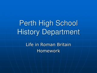 Perth High School History Department