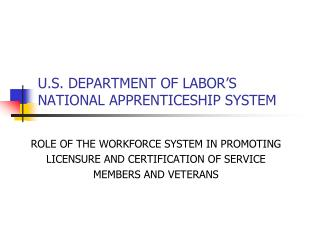 U.S. DEPARTMENT OF LABOR�S  NATIONAL APPRENTICESHIP SYSTEM