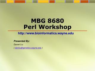 MBG 8680  Perl Workshop