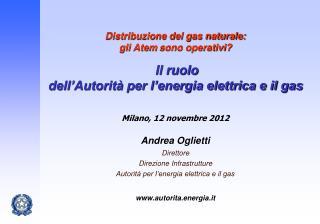 Andrea Oglietti Direttore Direzione Infrastrutture  Autorità per l'energia elettrica e il gas