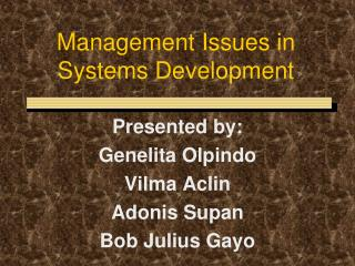 Management Issues in Systems Development