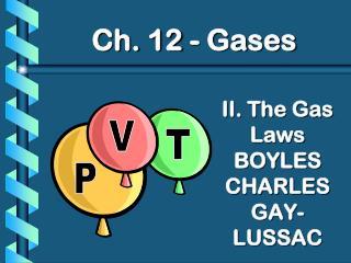 II. The Gas Laws BOYLES CHARLES GAY-LUSSAC