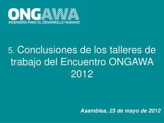 5.  Conclusiones de los talleres de trabajo del Encuentro ONGAWA 2012