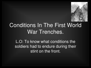 Conditions In The First World War Trenches.