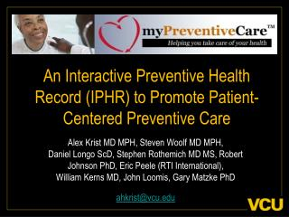An Interactive Preventive Health Record IPHR to Promote Patient-Centered Preventive Care