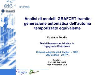 Analisi di modelli GRAFCET tramite generazione automatica dell'automa temporizzato equivalente