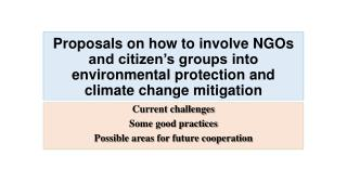 Current challenges Some good practices Possible areas for future cooperation