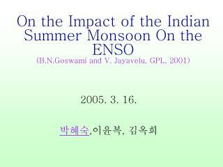Indian monsoon-La Nina  El Nino