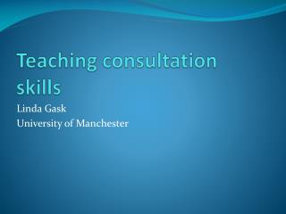 Teaching consultation skills