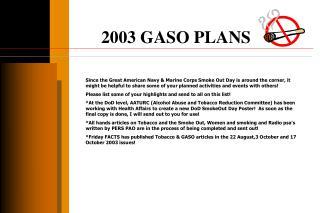 2003 GASO PLANS