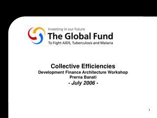 Collective Efficiencies Development Finance Architecture Workshop Prerna Banati - July 2006 -
