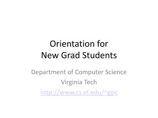 Orientation for New Grad Students