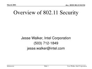 Overview of 802.11 Security