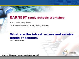 EARNEST  Study Schools Workshop