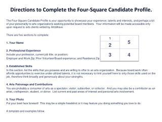 Directions to Complete the Four-Square Candidate Profile.