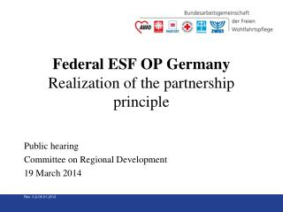 Federal ESF OP Germany Realization of the partnership principle Public hearing