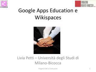 Google Apps Education e Wikispaces