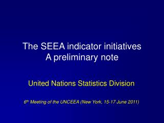 The SEEA indicator initiatives  A preliminary note