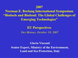 Gloria Visconti Senior Expert, Ministry of the Environment, Land and Sea Protection, Italy