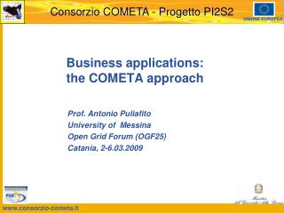 Business applications:  the COMETA approach
