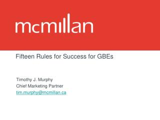 Fifteen Rules for Success for GBEs