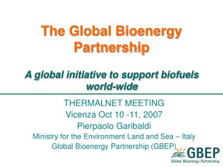 The Global Bioenergy Partnership A global initiative to support biofuels world-wide