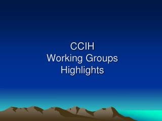CCIH  Working Groups Highlights