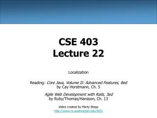 CSE 403 Lecture 22
