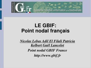 LE GBIF: Point nodal français