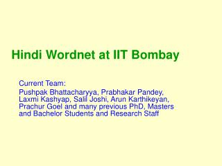 Hindi Wordnet at IIT Bombay