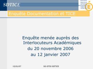 Enquête Documentation et TICE