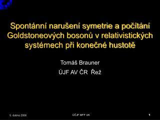 Tom áš Brauner ÚJF AV ČR  Řež