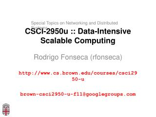 CSCI-2950u :: Data-Intensive Scalable Computing