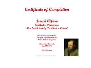 Certificate of Completion Joseph Alfano Intellectus Perceptuus