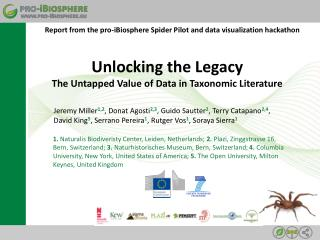 Unlocking  the  Legacy The  Untapped V alue of Data in  Taxonomic Literature