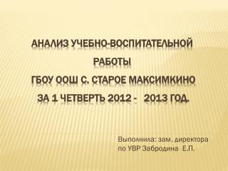 Выполнила: зам. директора по УВР  Забродина   Е.П.
