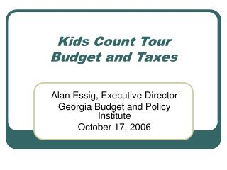 Kids Count Tour Budget and Taxes