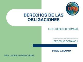 DERECHOS DE LAS OBLIGACIONES