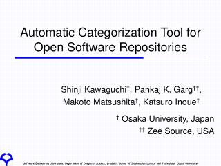 Automatic Categorization Tool for Open Software Repositories