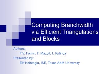 Computing Branchwidth via Efficient Triangulations and Blocks