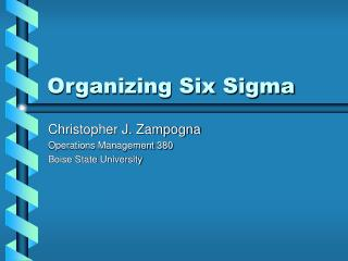 Organizing Six Sigma