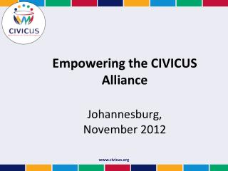 Empowering the CIVICUS Alliance Johannesburg,  November 2012