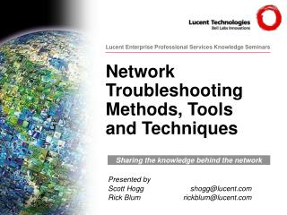 Network Troubleshooting Methods, Tools and Techniques