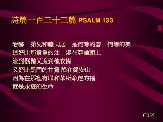 詩篇一百三十三篇  PSALM 133