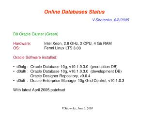 Online Databases Status