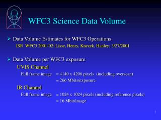 WFC3 Science Data Volume