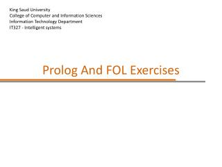 Prolog And FOL Exercises