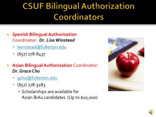 CSUF Bilingual Authorization Coordinators